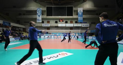 MOSCOW - NOV 5, 2016: Athletes train before game of Russian Volleyball Championship Dynamo (Moscow) - Ural (Ufa) in Palace of Sports Dynamo