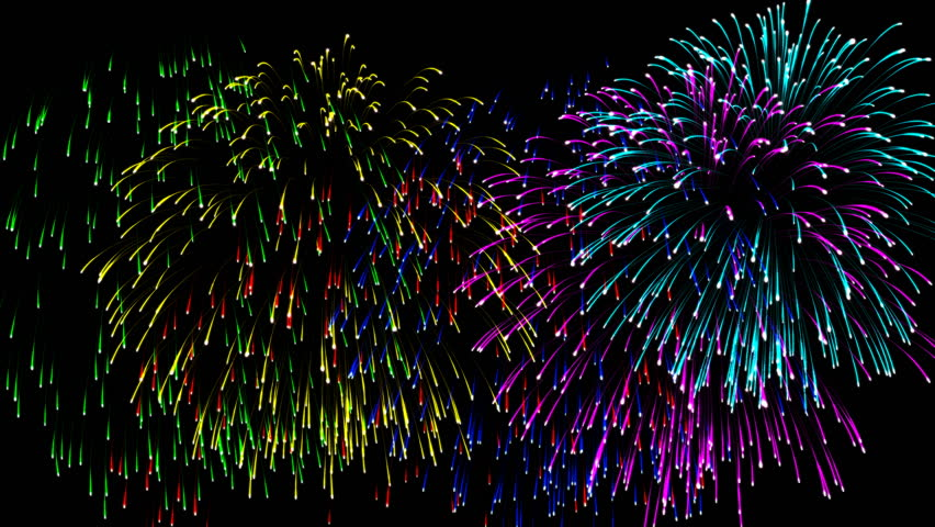 Beautiful cg animation fireworks in celebration day. This salute can be seen at the opening of the festival , on independence day, new year and other holidays, 4K seamless loop alpha matte included