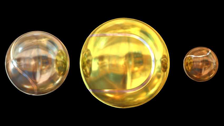 Animated spinning bronze, silver and gold plain tennis balls against transparent background. Large gold ball as main focus representing first place. Full 360 degree spin and loop-able.
