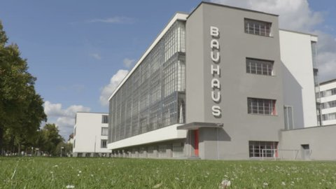 Dessau-Rosslau / Germany - 09.05.2017: View on the Bauhaus building from the lawn.