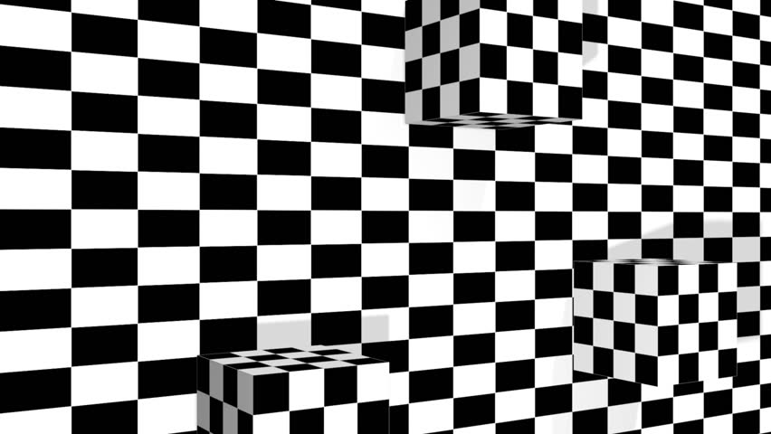 Moving cubes  on checkered plane  | Shutterstock HD Video #3436028