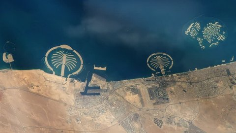 Dubai City (United Arab Emirates) from Space. Elements of this image furnished by NASA.