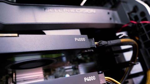 LONDON, UNITED KINGDOM - CIRCA 2017: Focus change from Nvidia Quadro p4000 to Dell precision workstation memory shroud