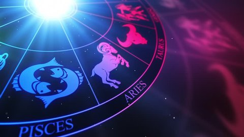 Zodiac Horoscope Astrological Sun Signs On a Spinning Wheel or Chakra   Seamless Looping Animated Motion Background Colorful Multicolored