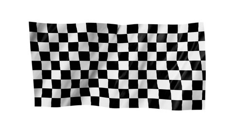 The checkered flag in 3d.The flag of car races, waving in the wind, on white background.
