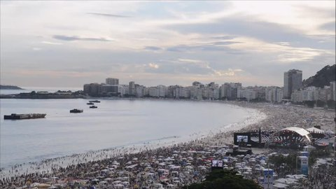Aerial view of Copacabana beach as party-goers wait for the iconic fireworks. A stage has been set up on the beach and will feature live performances
