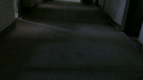 Fast travel through hallway of  abandoned asylum