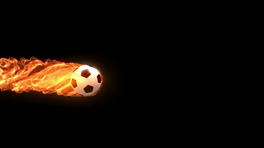 burning soccer ball is slowly flying on black background, 3d animation with an alpha matte