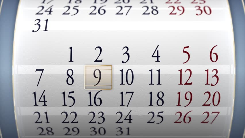 Calendar. Animated calendar of a generic month, each day being crossed from a frame. Lapse of time calendar 3D animated. Close up. HD 1080i.