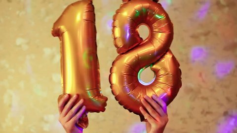 Happy eighteenth birthday, beautiful golden balloons