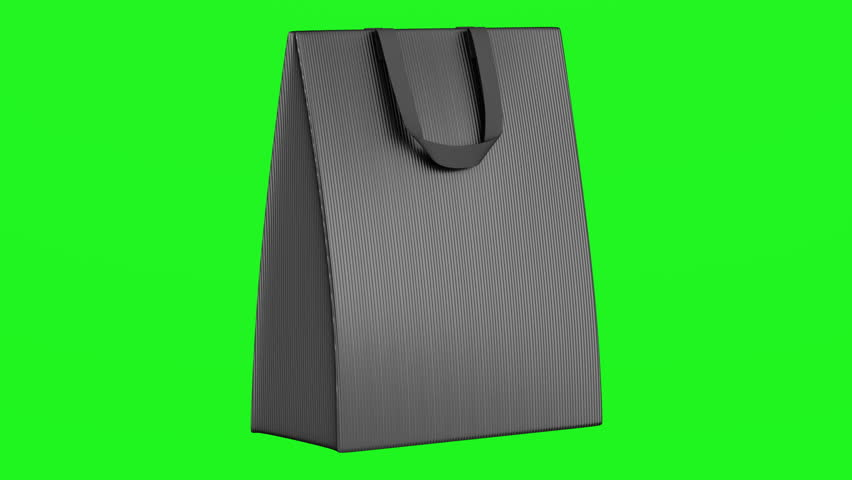 single blank gray shopping bag loop rotate on green chromakey background
