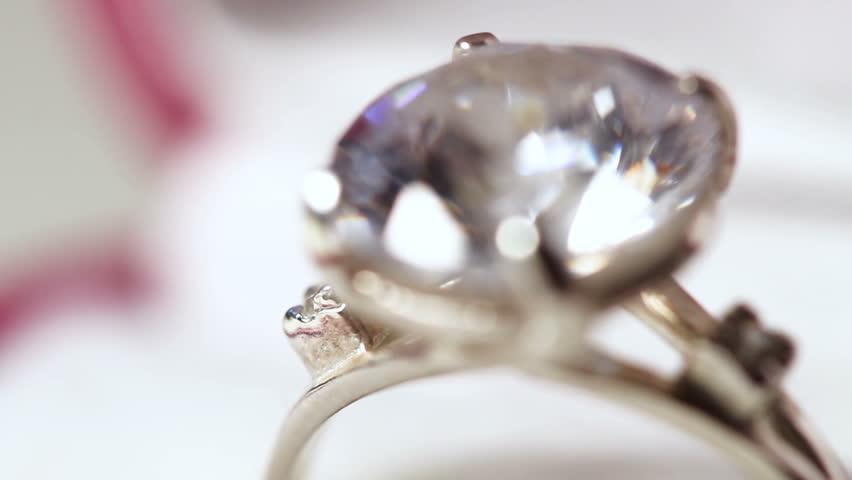 Diamond Ring in Red Gift Box Close Up Macro.