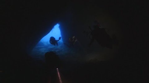 cave diving underwater exploring tunnels