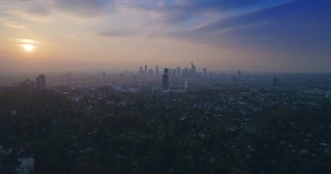 Aerial view of Incredible sunset over city Frankfurt am Main, Germany, Europe, 4k
