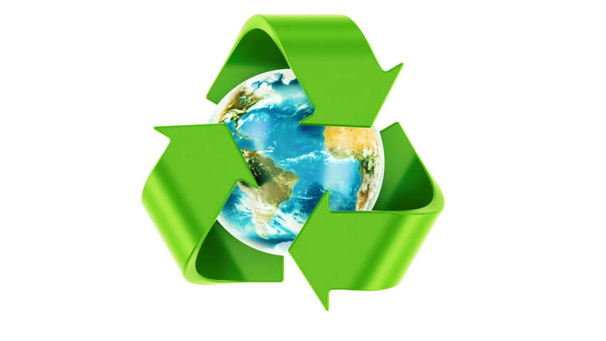 Recycling world concept. Recycle symbol rotating around the Earth Globe, 3D rendering. Elements furnished by NASA.