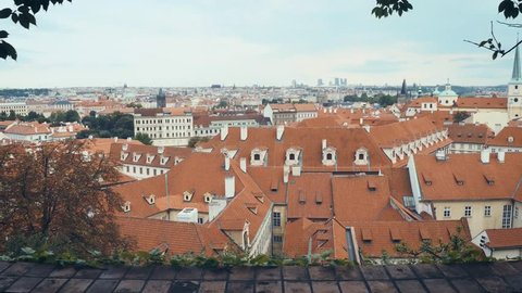 Panoramic view of Prague from the gardens of Prague Castle, 4k