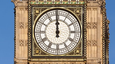 Animated time lapse of Big Ben's clock face with 12 hours passing in 10 seconds