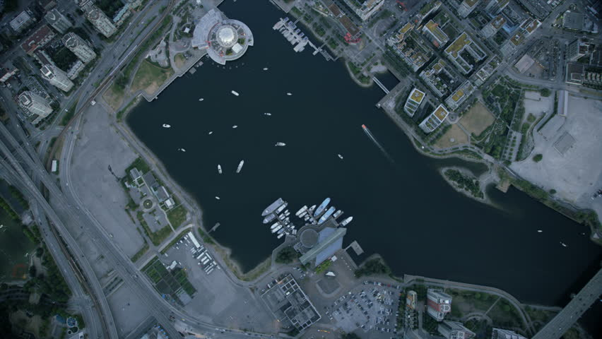 Aerial rooftop view Edgewater Casino and Telus World of Science geodesic dome False Creek Vancouver British Columbia Canada RED WEAPON | Shutterstock HD Video #34642018