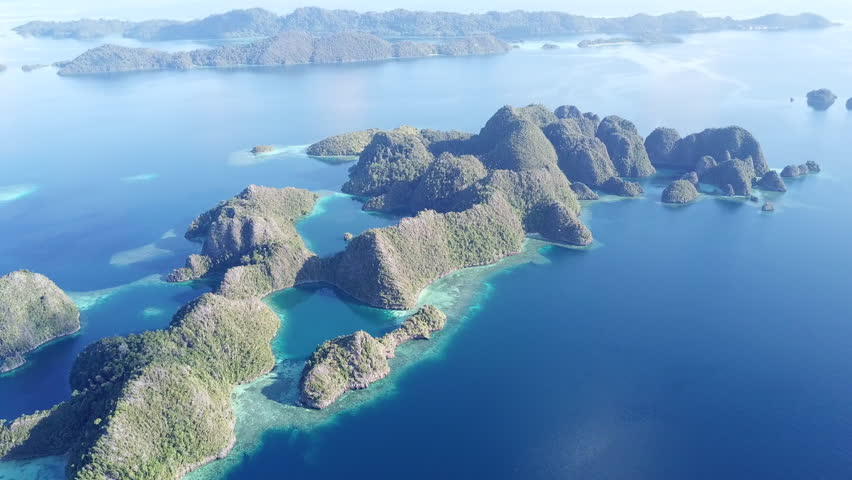 The idyllic limestone islands of Raja Ampat, Indonesia, are surrounded by calm seas and healthy, shallow coral reefs. This remote region is known to harbor the greatest marine biodiversity on Earth.   Shutterstock HD Video #34653748