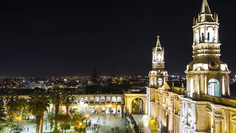 arequipa city night, peru. 4k timelapse
