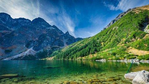 Green water lake Morskie Oko, Tatra Mountains, Poland. Timelapse 4K