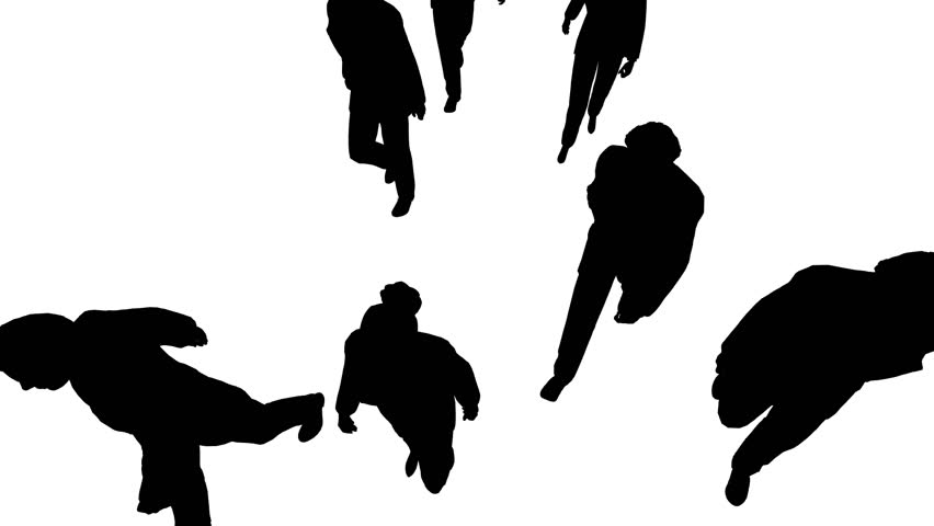 Aerial view of silhouette people walking forward