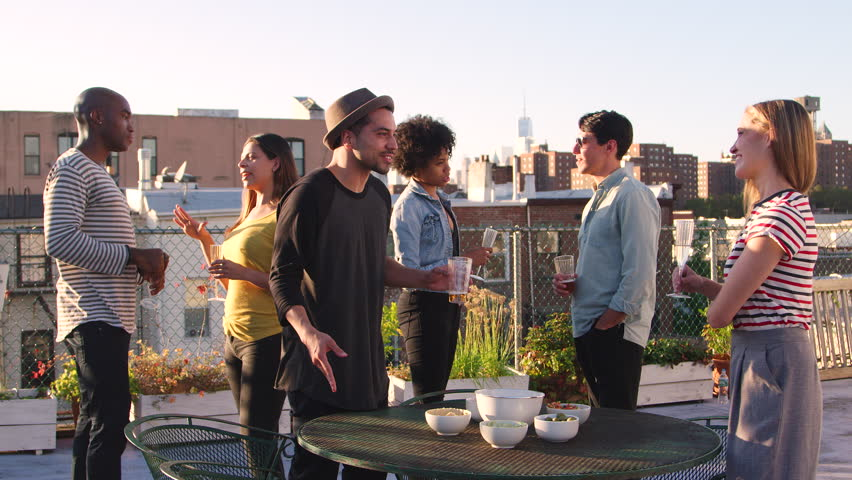 Adult friends at a party on a New York rooftop