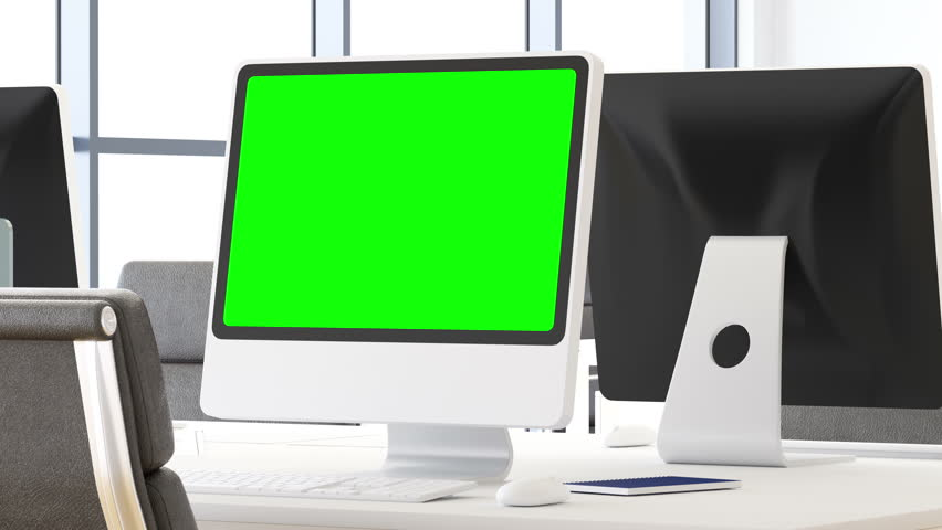 Desktop Computer with track green screen on a desktop | Shutterstock HD Video #34670878