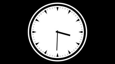 Spinning clock on black background, seamless loop for endless time concept