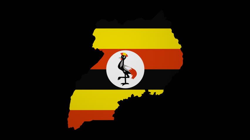 Uganda Map With Rippling Flag Animation Stock Footage Video - Uganda map hd
