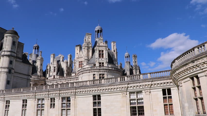 Château Chambord Panning Shot Of Side Elevation, Loire Valley, France