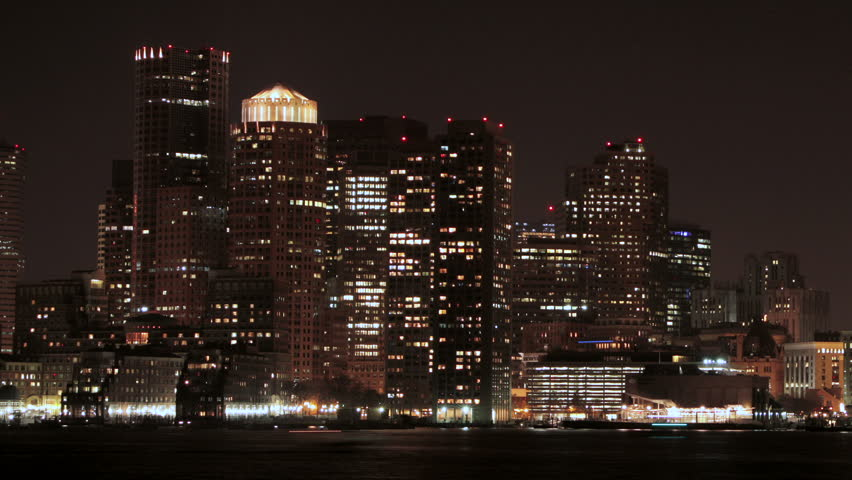 Boston Skyline night time lapse pan right
