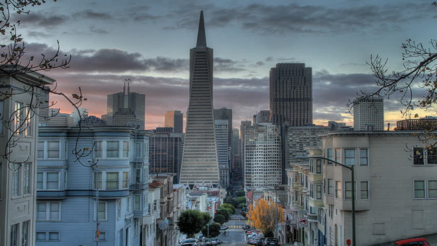 Morning View over Downtown San Francisco time lapse
