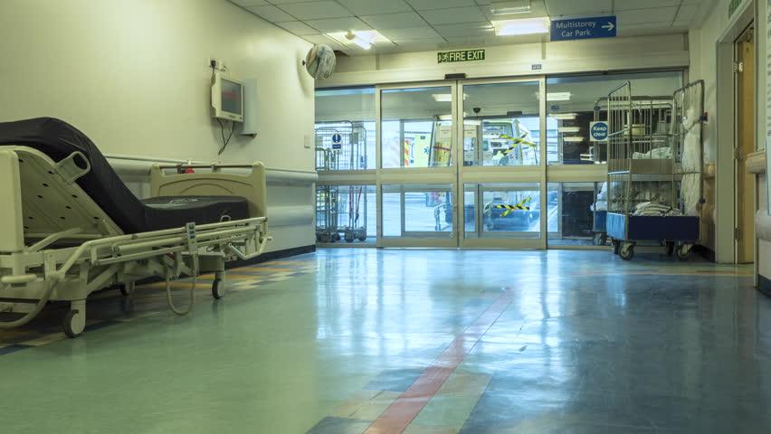 Leeds, Yorkshire, England, 28th January 2016 Time Lapse of Hospital corridor