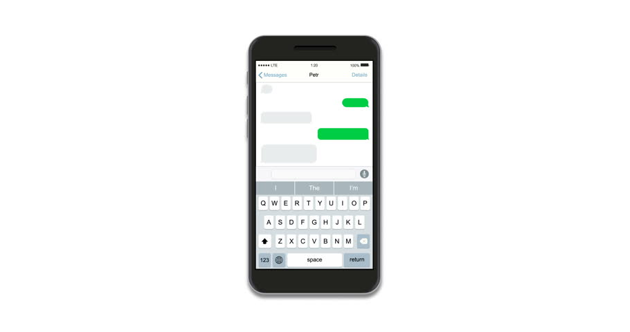 animation modern realistic smartphones with text message isolated on white background. Footage with alpha matte.