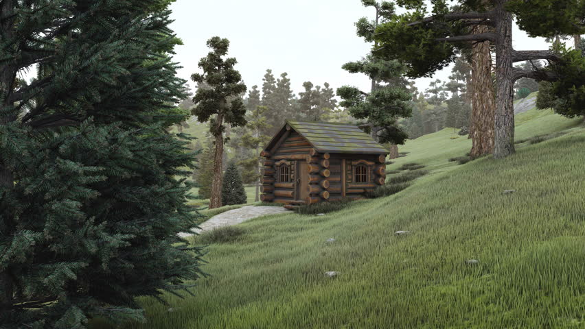 Dreamlike woodland scenery with old secluded log hut among coniferous forest at daytime. No people realistic 3D animation rendered in 4K
