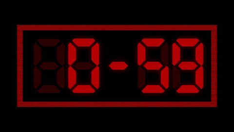 Digital clock timer countdown from sixty seconds to zero. Real time animation in 25 fps, from 60 to 0, one minute counting down. Red digits on black background.