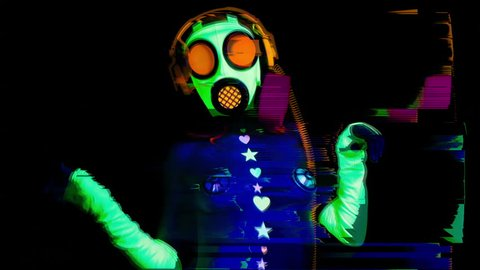 sexy female disco dancer poses in UV  fluorescent costume and gasmask with overlayed video distortion and glitch effects.