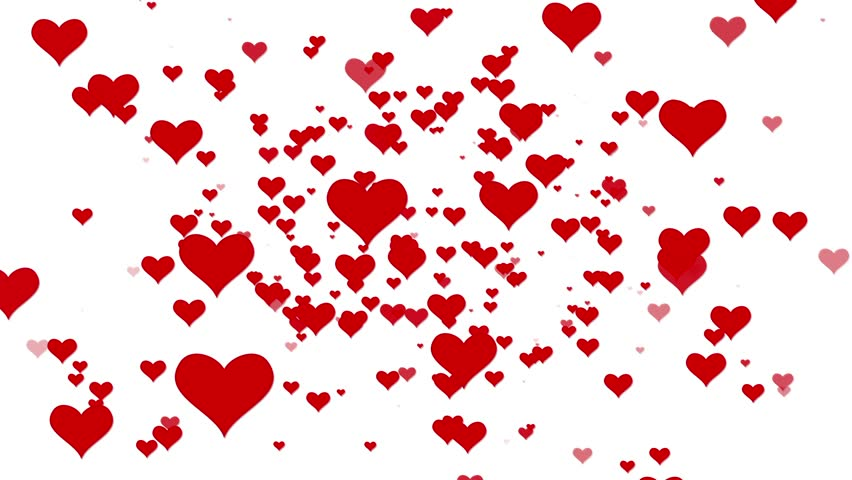 Valentines Day Hearts Flying. Background Looped video. White BG