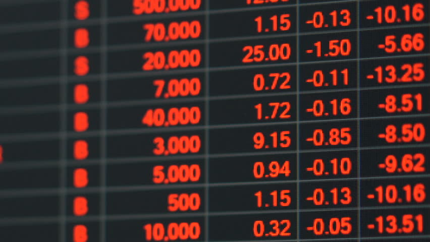 Economic crisis - Red stock market price board chart showing economic crisis of world stock. Bad economy and negative price down stock market situation. Traders are panic and selling their stock. | Shutterstock HD Video #34842988
