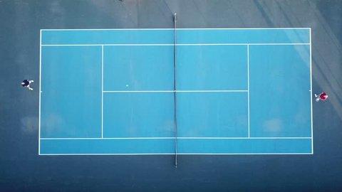 Tennis match - Top down aerial view