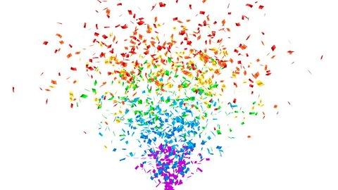 Rainbow color confetti explosion. Alpha channel, 4K