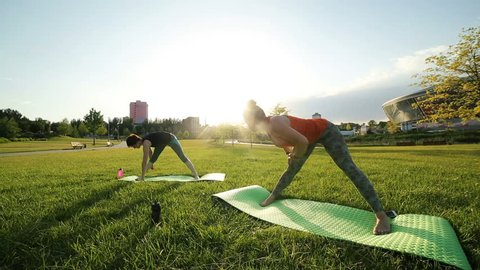 Yoga at park. Two girls exercising outdoors. Concept of healthy lifestyle.