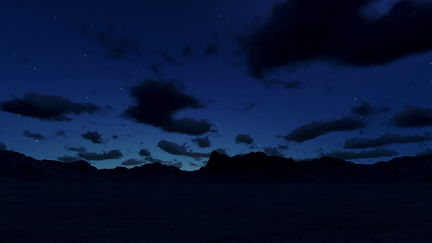 Mountain landscape at night, timelapse clouds