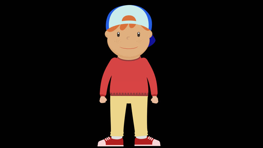 2D Cartoon, Boy Character Animations,clapping hands to left and right loop with Alpha Channel easy to use just drag and drop into your background.