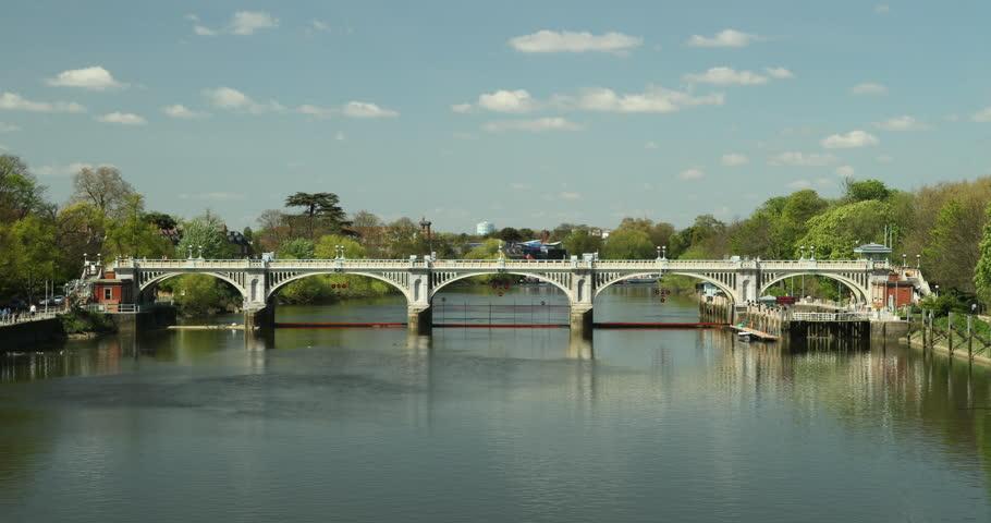 Twickenham Weir Richmond Lock Time Lapse, showing weir gates opening, boats passing through, River Thames London