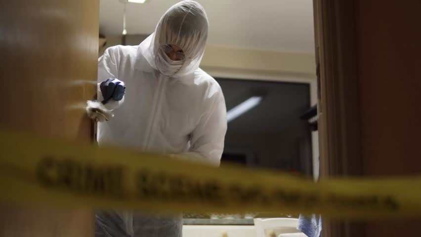 CSI Dusting Doorhandle For Fingerprint. Evidence. Crime Scene At Night With Forensics Searching For Clues. Murder Investigation With Police In Background. A Variety Of Camera Angles Available.