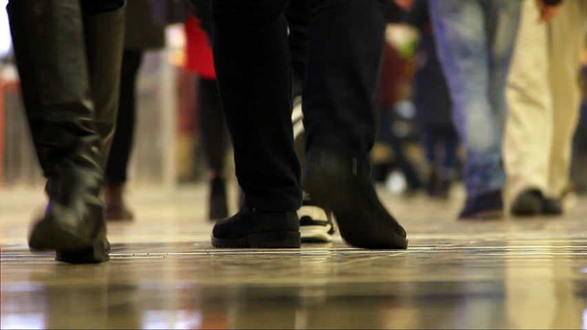 Time lapse video. Feet of walking people in the mall | Shutterstock HD Video #34999369