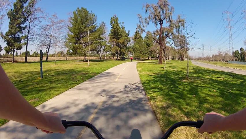 LONG BEACH, CA - February 23, 2013: The POV of someone riding a bicycle in El