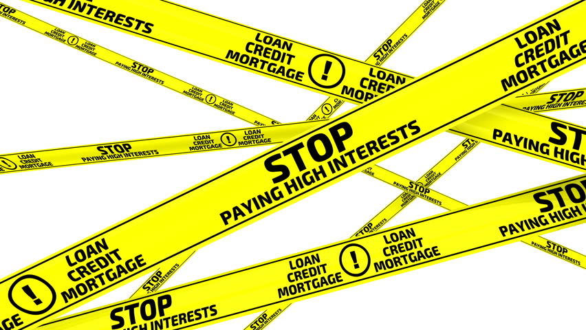 """Stop paying high interests. Yellow warning tapes with inscription """"STOP PAYING HIGH INTERESTS"""". Footage video 